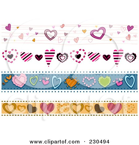 Royalty-Free (RF) Clipart Illustration of a Digital Collage Of Heart Border Designs by BNP Design Studio