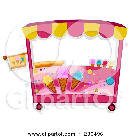 Royalty-Free (RF) Clipart Illustration of a Pink Ice Cream Cart by BNP Design Studio