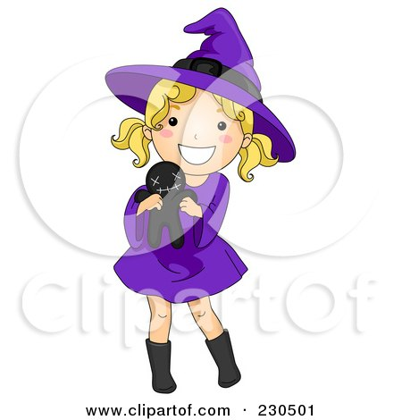 Royalty-Free (RF) Clipart Illustration of a Cute Halloween Girl In A Witch Costume, Holding A Voodoo Doll by BNP Design Studio