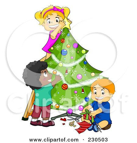 Royalty-Free (RF) Clipart Illustration of a Diverse Kids Trimming A Christmas Tree Together by BNP Design Studio