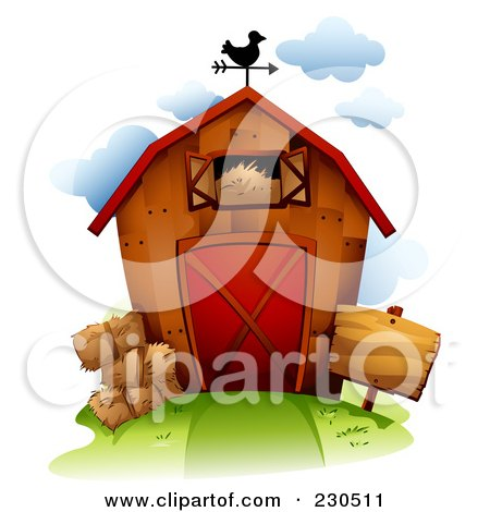 Royalty-Free (RF) Clipart Illustration of a Weathervane On Top Of A Barn With Hay by BNP Design Studio