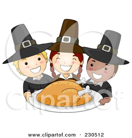 Royalty-Free (RF) Clipart Illustration of Happy Pilgrim Children Serving A Thanksgiving Turkey by BNP Design Studio