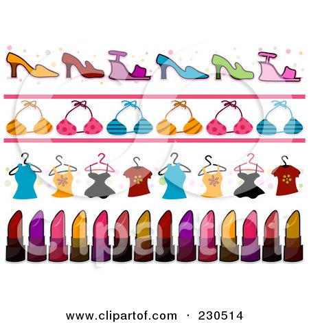 Royalty-Free (RF) Clipart Illustration of a Digital Collage Of Fashion Border Designs by BNP Design Studio
