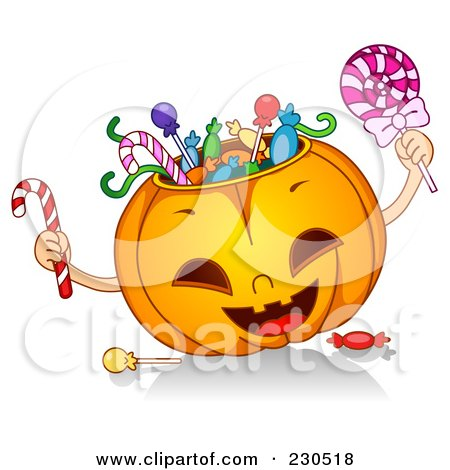Royalty-Free (RF) Clipart Illustration of a Happy Halloween Pumpkin Stuffed With Candy by BNP Design Studio