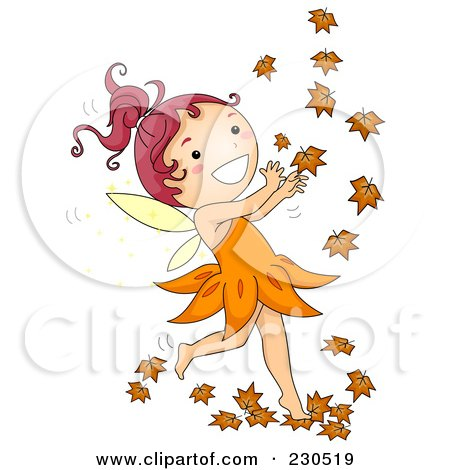 Royalty-Free (RF) Clipart Illustration of a Happy Fall Fairy Playing With Autumn Leaves by BNP Design Studio