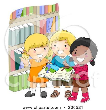 Royalty-Free (RF) Clipart Illustration of Diverse School Kids Picking Books by BNP Design Studio