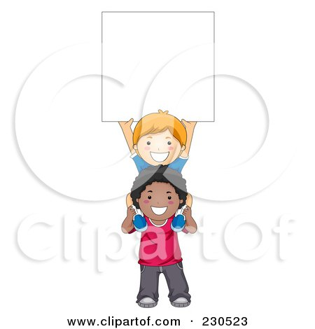 Royalty-Free (RF) Clipart Illustration of Diverse School Kids With A Blank Sign - 11 by BNP Design Studio
