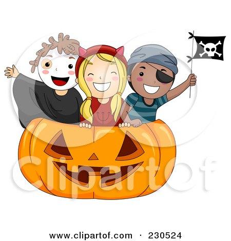 Royalty Free RF Clipart Illustration Of A Happy Kids Inside A Huge Halloween Pumpkin