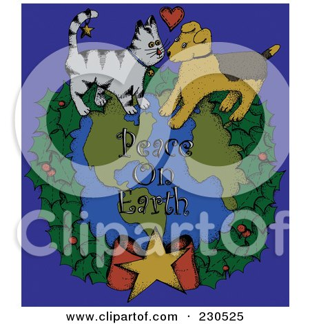 Royalty-Free (RF) Clipart Illustration of a Cat And Dog On A Wreath Around Peace On Earth Text Over Blue by inkgraphics