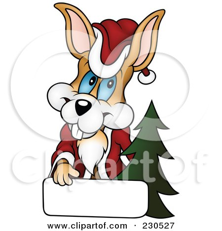 Royalty-Free (RF) Clipart Illustration of a Happy Christmas Bunny With A Blank Sign by dero