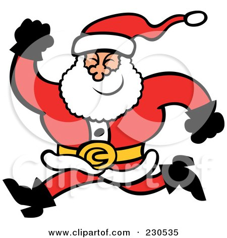 Royalty-Free (RF) Clip Art Illustration of a Merry Santa Running by Zooco