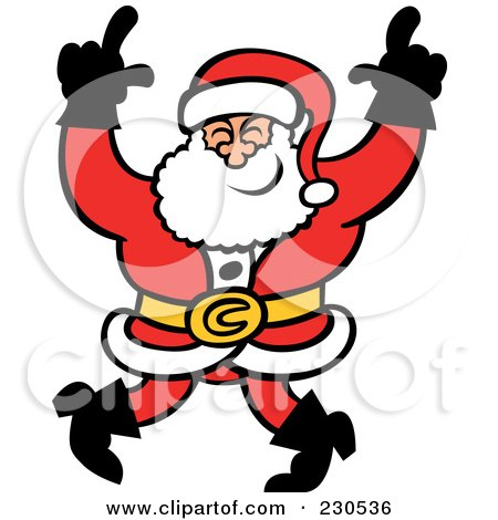 Royalty-Free (RF) Clipart Illustration of a Merry Santa Dancing by Zooco