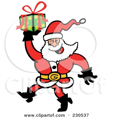 Royalty-Free (RF) Clipart Illustration of a Merry Santa Carrying A Gift by Zooco
