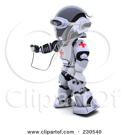 Royalty-Free (RF) Clipart Illustration of a 3d Robot Character Doctor by KJ Pargeter