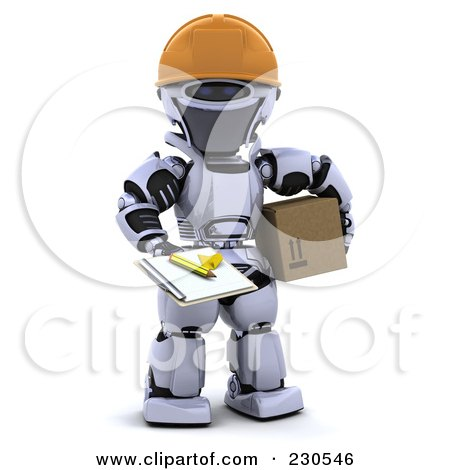 Royalty-Free (RF) Clipart Illustration of a 3d Robot Character Delivering a Box by KJ Pargeter