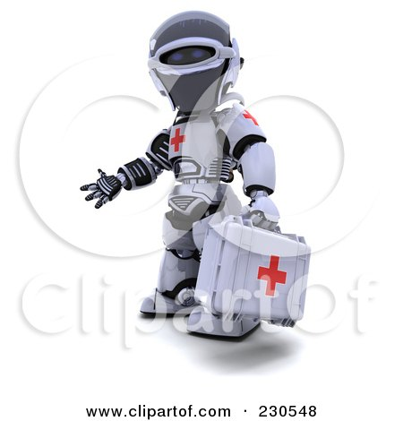 Royalty-Free (RF) Clipart Illustration of a 3d Robot Character Paramedic by KJ Pargeter