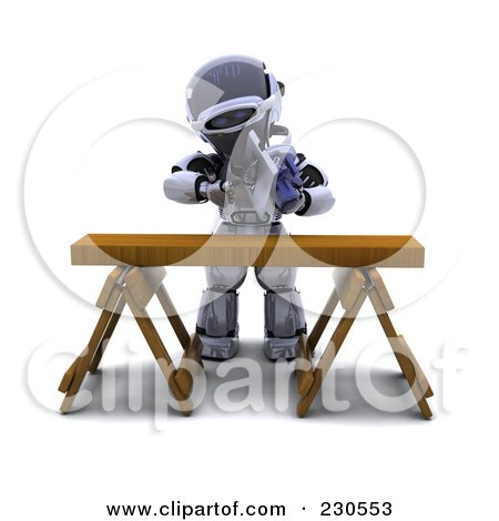 Royalty-Free (RF) Clipart Illustration of a 3d Robot Character Using A Saw Horse by KJ Pargeter