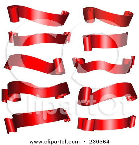 Royalty-Free (RF) Clipart Illustration of a Digital Collage Of Shiny Red Ribbon Banners by KJ Pargeter