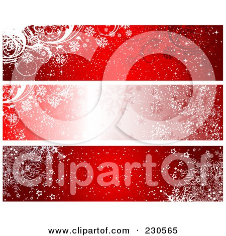 Royalty-Free (RF) Clipart Illustration of a Digital Collage Of Three Red Winter Banner Designs by KJ Pargeter