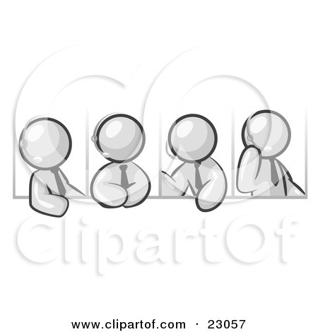 Clipart Illustration of Four Different White Men Wearing Headsets And Having A Discussion During A Phone Meeting by Leo Blanchette