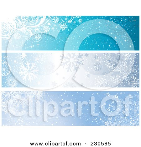 Royalty-Free (RF) Clipart Illustration of a Digital Collage Of Three Blue Winter Banner Designs by KJ Pargeter