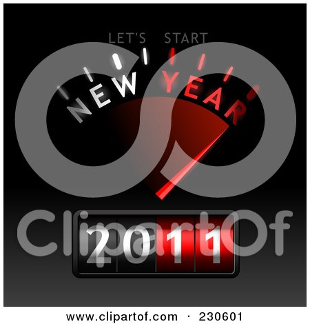 Royalty-Free (RF) Clipart Illustration of a New Year Gauge On Black And Gray by Oligo