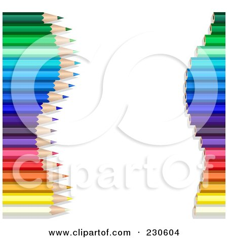 Royalty-Free (RF) Clipart Illustration of a Border Of Colored Pencil Tips And Ends With Copyspace by Oligo