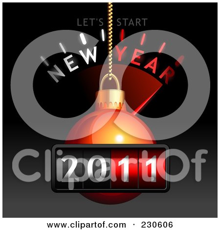 Royalty-Free (RF) Clipart Illustration of a Red Christmas Ornament Over A New Year Count Down On Black And Gray by Oligo