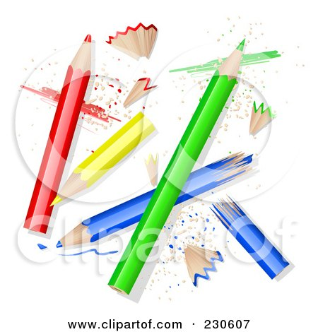 Royalty-Free (RF) Clipart Illustration of Colored Pencils With Sharpened Peels by Oligo