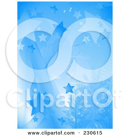 Royalty-Free (RF) Clipart Illustration of a Vertical Blue Star Background With Evergreen Trees by elaineitalia