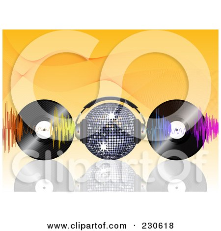 Royalty-Free (RF) Clipart Illustration of a Disco Ball With Headphones, Waves And Vinyl Records On Orange by elaineitalia