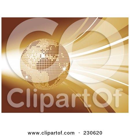 Royalty-Free (RF) Clipart Illustration of a Golden Mosaic Globe Over Waves by elaineitalia