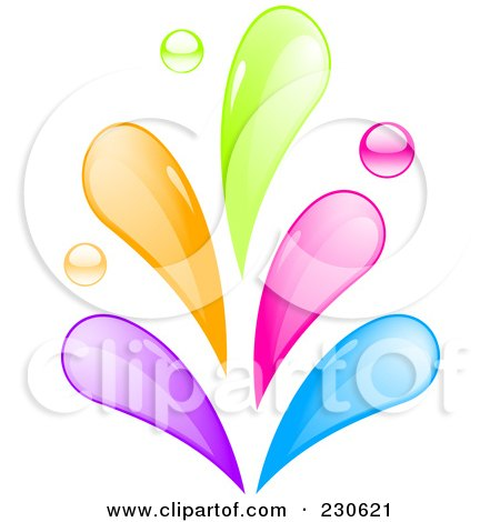 Royalty-Free (RF) Clipart Illustration of a Rainbow Colored Splash by elaineitalia
