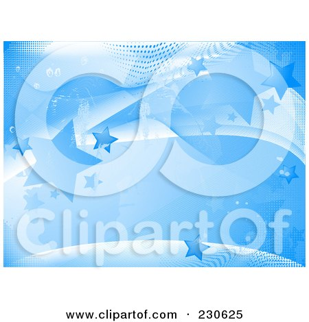 Royalty-Free (RF) Clipart Illustration of a Blue Star Background With Waves And Halftone by elaineitalia