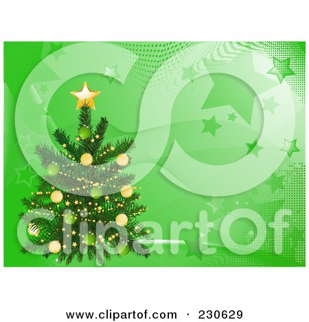 Royalty-Free (RF) Clipart Illustration of a Christmas Tree Over A Green Wave And Star Background by elaineitalia