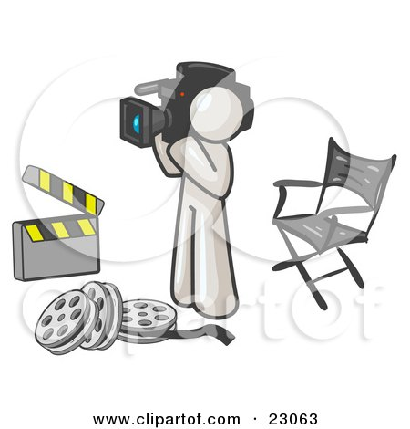 Clipart Illustration of a White Man Filming a Movie Scene With a Video Camera in a Studio by Leo Blanchette