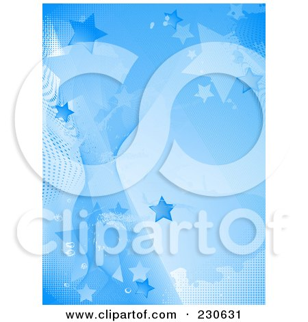 Royalty-Free (RF) Clipart Illustration of a Blue Star, Halftone And Wave Background by elaineitalia