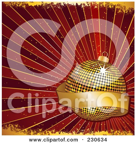 Royalty-Free (RF) Clipart Illustration of a Christmas Background Of A Golden Mosaic Bauble With A Blank Banner Over Red Rays Wth Gold Grunge by elaineitalia