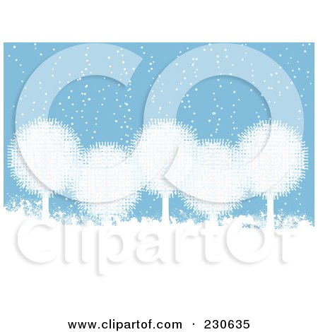 Royalty-Free (RF) Clipart Illustration of a Background Of White Snowball Trees In The Snow Over Blue by elaineitalia