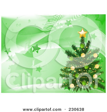 Royalty-Free (RF) Clipart Illustration of a Christmas Tree Over A Magical Wave, Star And Halftone Background by elaineitalia