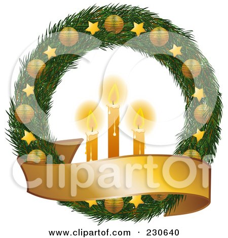 Royalty-Free (RF) Clipart Illustration of a Christmas Wreath With Golden Stars And Ornaments, A Blank Banner And Glowing Candles by elaineitalia