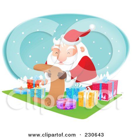 Royalty-Free (RF) Clipart Illustration of Santa Sitting By Gifts And Reading A List Over A Snowy Oval by Qiun