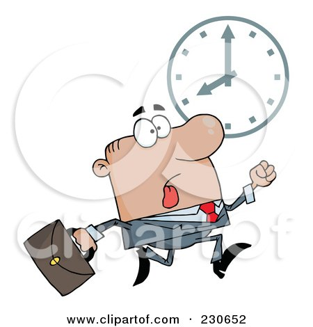 Royalty-Free (RF) Clipart Illustration of a Hurried Black Businessman Running Past A Clock by Hit Toon
