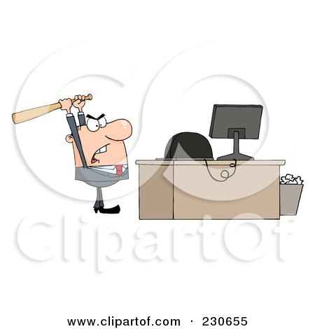 Royalty-Free (RF) Clipart Illustration of a Caucasian Businessman Holding A Bat Over A Computer by Hit Toon