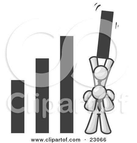 Clipart Illustration of a White Man on Another Man's Shoulders, Holding up a Bar in a Graph by Leo Blanchette