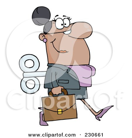 Royalty-Free (RF) Clipart Illustration of a Windup Black Businessman Walking With A Briefcase by Hit Toon