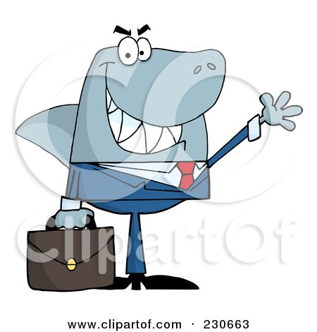 Royalty-Free (RF) Clipart Illustration of a Shark Businessman Carrying A Briefcase And Waving by Hit Toon