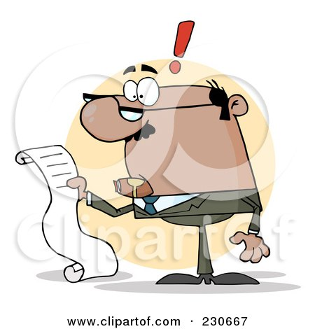 Royalty-Free (RF) Clipart Illustration of a Black Businessman Reading A Long List Or Bill Over A Beige Circle by Hit Toon