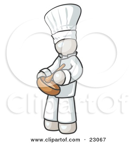 Clipart Illustration of a White Baker Chef Cook in Uniform and Chef's Hat, Stirring Ingredients in a Bowl by Leo Blanchette