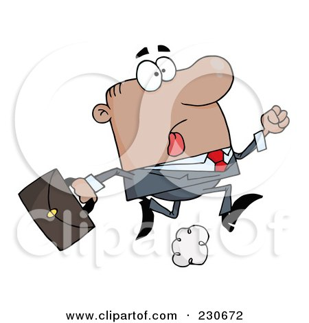 Royalty-Free (RF) Clipart Illustration of a Late Black Businessman Running With A Briefcase by Hit Toon
